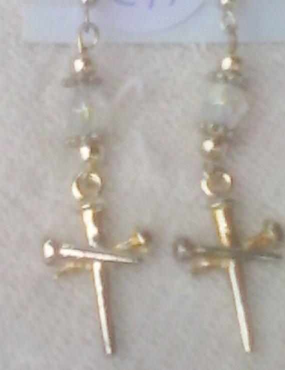 Silvertone Nail Cross Earrings