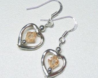 heart shaped dangle earrings with rose swarovski crystals,rose crystal dangle earrings,heart dangle earrings,silver dangle earrings
