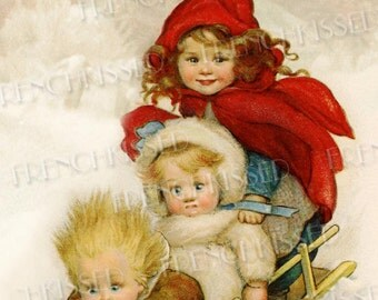 Humorous Trio Riding Snow Sled Antique Postcard Susan Beatrice Pearse Digital Printable