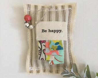 fabric scrap be happy boho lavender sachet, meditation be happy word dried lavender sachet, beaded whimsical happy boho urban sachet, No. 75