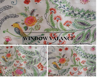 Floral Bird Lined Window Valance | Scalloped or Straight | Floral Bird | Green | White | Yellow | Kitchen | Bedroom | Bathroom Valance