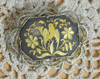 Large Damascene Brooch - Bird and Flowers Pattern - Gold on Black with Filigree Frame  - Toledo Spain - Gift Boxed
