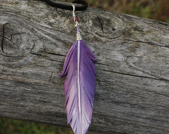 Purple Pearl Feather - Leather Fantasy Bird Feather Pendant - 3 inches