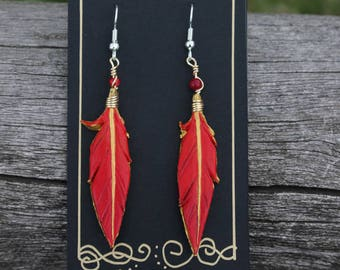Red and Gold Phoenix Feathers - 2 Inch Leather Feather Earrings - Hand Painted Leather Bird Feather Earrings with Stones