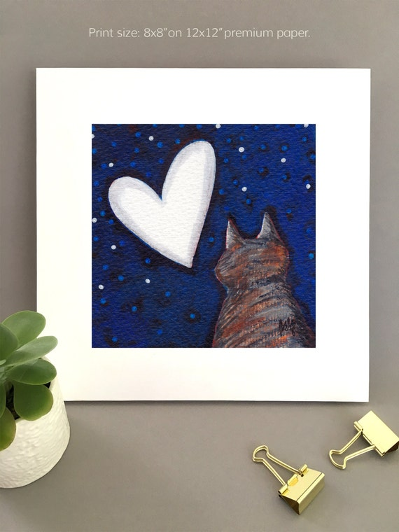 Tabby cat with heart moon Giclée print, unique art for wife, cat lover gift idea wall art Bernadette Artwork