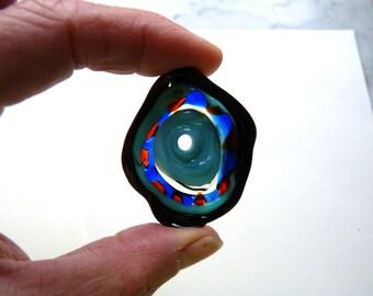 Bold Lampwork Disk Focal Bead - Freeform - Bloodshot - Blue Red Black