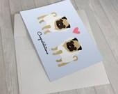 Wedding Card - Wedding Pugs Greeting Card - 2 Brides Wedding Card - Pug lover card - Gay Wedding Card - Gay Marriage - Lesbian Wedding Card