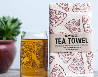 Pint Glass and Tea Towel Set Pizza design