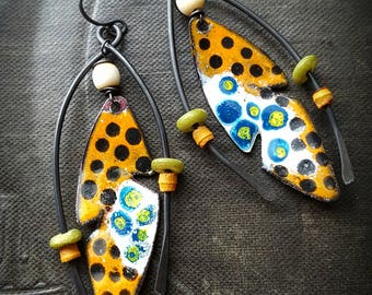 Enameled Charms, Enameled Earrings, Tribal, Wire, Artisan Made, Hoops, Bone, Organic, Rustic, Primitive, Beaded Earring