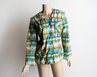 Vintage Plaid Madras Coat - 1960s 1970s Stripes in Green Blue Yellow and White - Front Pockets - Hipster Jacket - Medium