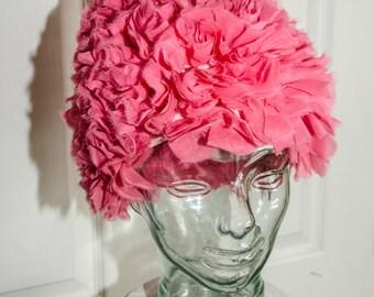 Vintage Hot Pink Rockabilly Roller Wig Hat