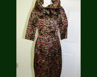 Rare 1950's Designer Nettie Rosenstein Bonwit Teller Irridescent Silk Print Evening Dress