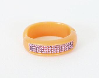 Swarovski Crystal Vintage 20's Style Pink Rhinestone Orange Signed Bangle Bracelet