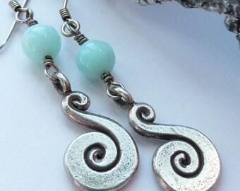 Handcrafted Blue Pervian Opal Sterling Silver Fine Silver Spiral Wave Charm Artisan OOAK Boho Hippie Festival Summer Long Dangle Earrings