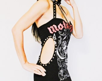 Motorhead Mini Dress Black metal clothing alternative apparel reconstructed altered band shirt