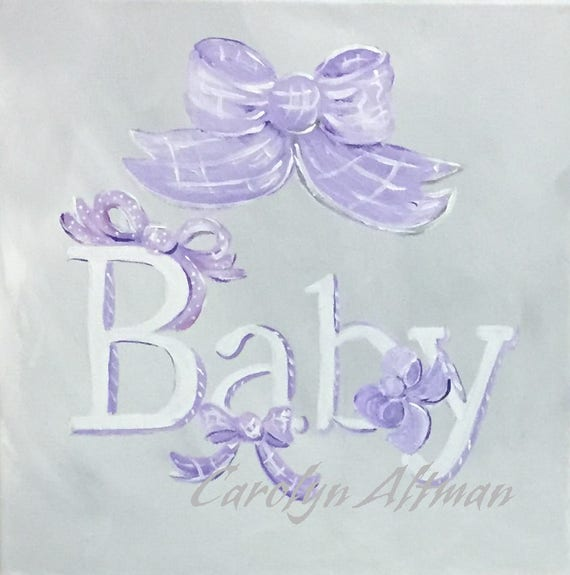 Baby and Bows Painting | Soft Gray Background | White Lettering | Lilac and Purple Bows | Personalize It