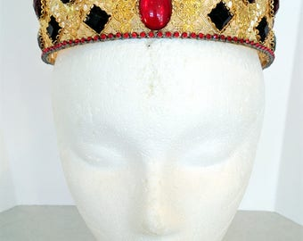 SALE - Renaissance Jewelry, Renaissance Tiara, Tudor Crown, Tiara, Headpiece, Headdress, Medieval Tiara, Renaissance Crown, Black, Red, Gold