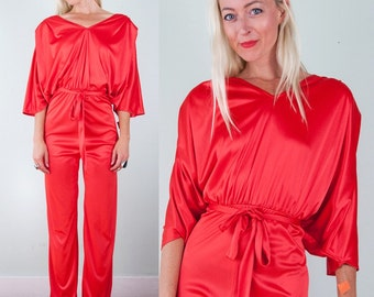 Vintage 70s 80s Incredible Shimmering RED JUMPSUIT Unworn with Tags Bianca Jagger M/L