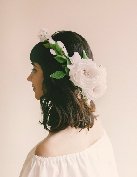 Floral wreath, Boho bridal headpiece, Rose flower crown, flower headpiece, Bridal headpiece - PINK or WHITE
