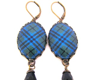 Scottish Tartan Jewelry - Ancient Romance Series - Keith Clan Tartan Earrings with Faceted Onyx Black Czech Glass