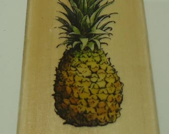 Pineapple Wood Mounted Rubber Stamp By Wispers Sugarloaf, Tropical Fruit