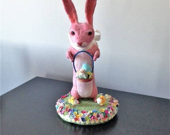 LARGE spun cotton rabbit among spring flowers and vintage chicks centerpiece by Maria Paula