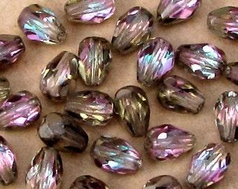Czech Glass Beads, Firepolished Teardrop, Vitrail Light, 7 x 5 MM, 25 Pc. C517