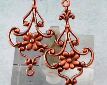 Dainty Floral Connector, Antique Copper, 4 Pc. AC193