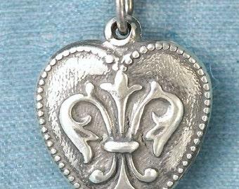 Small Fleur De Lis Sweetheart Heart Sterling Silver Pendant Charm