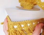 Vintage Upholstery Fringe Trim Goldenrod Yellow Tassel Upholstery Trim Mid Century Golden Yellow Trim Yellow Fringe Retro Trim Vtg 1960's