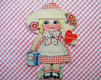 Vintage Unused Mechanical Valentine's Day Card Germany Peaches and Cream Girl with Hat and Gingham Dress