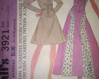 Vintage 70s Sewing Pattern McCall's 3921 Tie Front Crop Top and Skirt Size 11 Bust 33 1/2 Hippie Boho