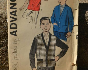 Vintage 50s or 60s Sewing Pattern Advance 9213 Boys Cardigan or Vest