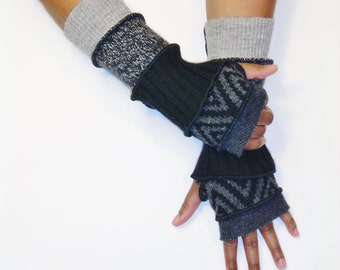 Fingerless Gloves, Armwarmers,Patchwork Gloves(Dk.Grey/Black,Grey Pattern/Black/Heather Black,Grey/Light Grey Patch) by BrendaAbdullah