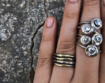 Silver pebble stacking rings - 3mm Signity cubic zircon-Stackable ring - Made to order in your size - Organic design - Nature inspired