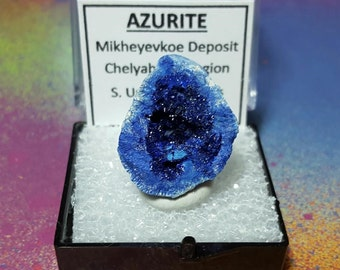 Rare AZURITE Bright Blue Druzy Crystal Mineral Specimen In Perky Box From the Chelyabinks Region S. Ural Mtns. Russia