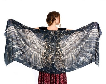 Feathers Scarf, Evening Shawl, Festival Wear, Cape Wings Scarf, Boho Shawl, Sarong Wrap, Black Painted Scarf, Beach Shawl, Boho Accessories