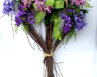 Lilac Wreath, Heart  Wreath for front door, Spring wreath, summer Wreath, wreathe
