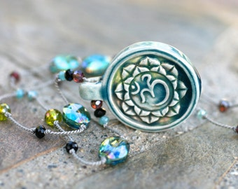 Om Lotus Flower Raku Ceramic Pendant, Silk Cord Knotted Crystal Handmade Necklace, Yoga Jewelry, Ohm Pendant, Spiritual Jewelry, 24 Inch