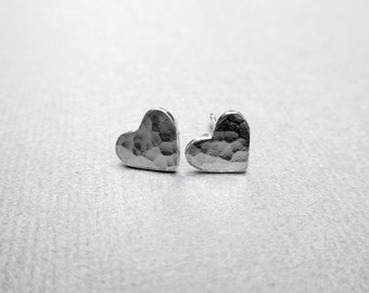 Heart Stud Earrings, Heart Earrings, Silver Post Earrings, PMC Jewelry, Hammered Heart Posts, Modern, Minimalist, Romantic Gift Under 25
