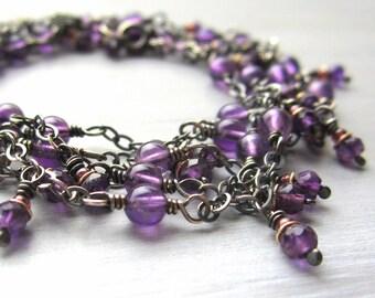 Amethyst Yoga Necklace or Bracelet, Long Amethyst Necklace, Boho Chic Yoga Jewelry, Purple Beaded Amethyst Dangle Necklace, Yoga Jewelry