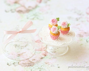 Dollhouse Miniature Food - Buttermilk Pink Rose Cupcakes