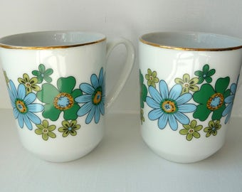 2 Retro Mod Flower Mugs - Pair Blue Green Porcelain Mugs - Two White China Mugs- Floral Design- Creative Japan - 1970s 70s- Mothers Day Gift