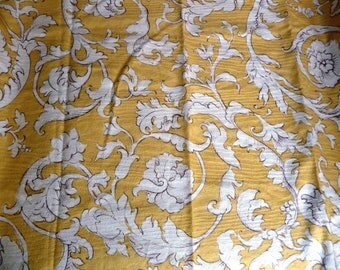 Golden Yellow Floral Fabric Sample - Classical Botanical Print - 100% Cotton - Home Decor Fabric - Moire Design - UK Fardis Benodel 26 x 26""