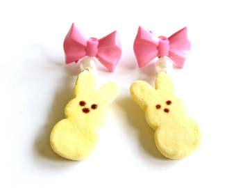 Marshmallow Bunny Earrings Pin Up Jewelry Pearls and Bow Easter Jewelry Pastel Candy earrings Miniature Food Jewelry Kawaii jewelry