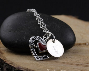 Be My Valentine Necklace Personalized with Engraved Letter Charm Sterling Silver