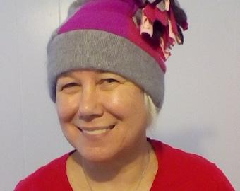Cashmere Slouch Hat, beanie  with pom pom