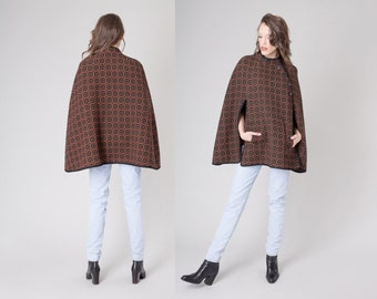 WOOL CAPE modern pattern minimal Orange and Black sweater knit fall winter cardigan / Free Size / woman better stay together