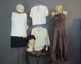 10pc Lot of AS IS Vintage Clothing, Dresses, hats, shoes, beaded purse & Blouses, 1950s, 1960s, 1980s