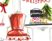 Christmas Artwork, Chanel Art, French Chair, Winter White, Art Prints, Painting of Interior, Tabletop Tree, Skirted Chair